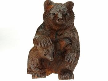 Bear sitting with cub - Ironwood Carving  |  EarthView