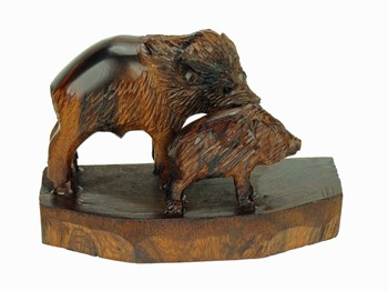 Javelina with baby - Ironwood Carving  |  EarthView
