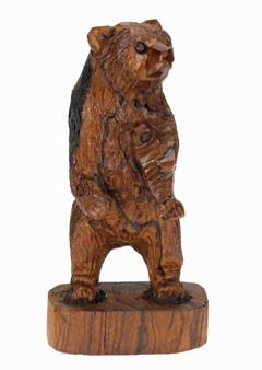 Grizzly Bear standing with fish - Ironwood Carving  |  EarthView