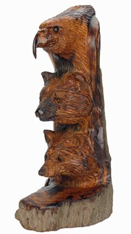 Eagle-Bear-Wolf Totem - Ironwood Carving  |  EarthView