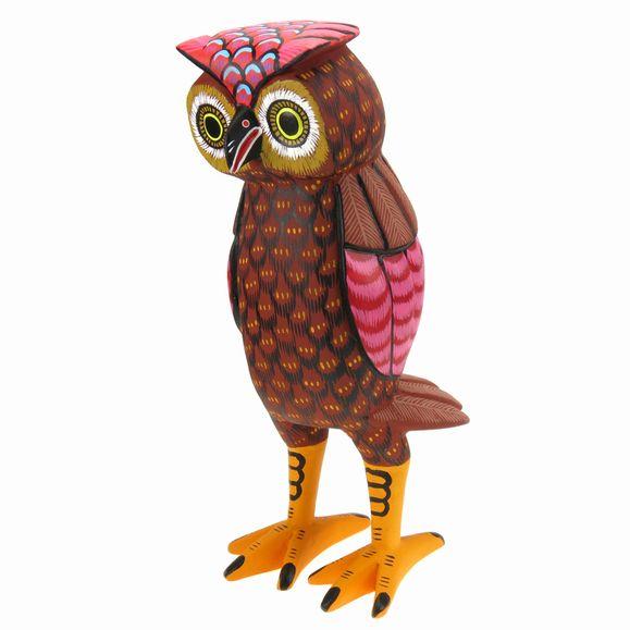 Owl oaxacan wood carving earthview