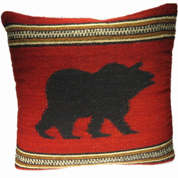 Bear Pillow - Zapotec Weaving EarthView