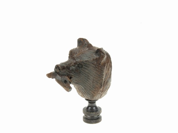 Bear Head With Fish Finial Ironwood Carving Earthview