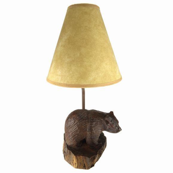 Bear Lamp Rough Ironwood Carving Earthview