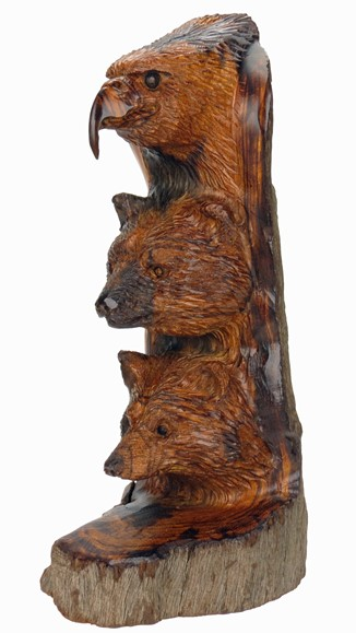 Eagle Bear Wolf Totem Ironwood Carving Earthview